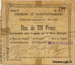 1 Franc FRANCE régionalisme et divers SAINS RICHAUMONT 1915 JP.02-1968 TB