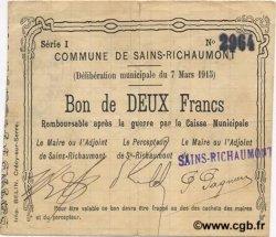 2 Francs FRANCE régionalisme et divers SAINS RICHAUMONT 1915 JP.02-1977 TTB