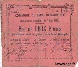 2 Francs FRANCE régionalisme et divers SAINS RICHAUMONT 1915 JP.02-1983 TB