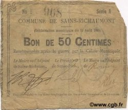 50 Centimes FRANCE régionalisme et divers SAINS RICHAUMONT 1915 JP.02-1987 TB