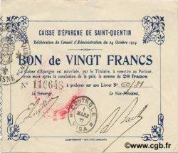 20 francs FRANCE régionalisme et divers SAINT QUENTIN 1914 JP.02-2090 TTB+