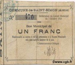 1 Franc FRANCE régionalisme et divers SAINT SIMON 1914 JP.02-2100 pr.TTB