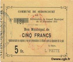 5 Francs FRANCE régionalisme et divers SEBONCOURT 1914 JP.02-2111 TTB+