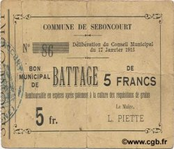 5 Francs FRANCE régionalisme et divers SEBONCOURT 1915 JP.02-2115