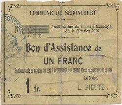 1 Franc FRANCE régionalisme et divers SEBONCOURT 1915 JP.02-2118 B+