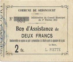 2 Francs FRANCE régionalisme et divers SEBONCOURT 1915 JP.02-2119 TTB