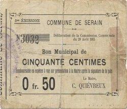 50 Centimes FRANCE régionalisme et divers SERAIN 1915 JP.02-2164 TB
