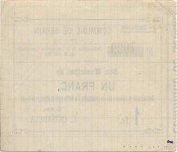 1 Franc FRANCE régionalisme et divers SERAIN 1915 JP.02-2165 TTB