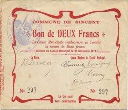 2 Francs FRANCE régionalisme et divers SINCENY 1914 JP.02-2177 TTB