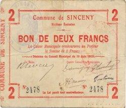 2 Francs FRANCE régionalisme et divers SINCENY 1915 JP.02-2189 TB+