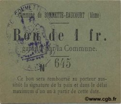 1 Franc FRANCE régionalisme et divers SOMMETTE EAUCOURT 1916 JP.02-2208 SPL