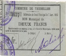 2 Francs FRANCE régionalisme et divers THENELLES 1915 JP.02-2270 TTB