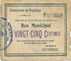 25 Centimes FRANCE régionalisme et divers TUPIGNY 1915 JP.02-2311 TB