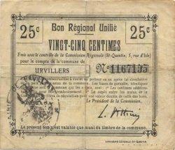 25 Centimes FRANCE régionalisme et divers URVILLERS 1916 JP.02-2319.BRU TB+