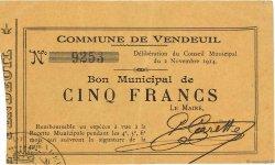 5 Francs FRANCE régionalisme et divers VENDEUIL 1914 JP.02-2365 SUP