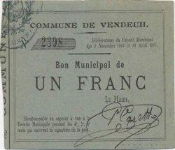 1 Franc FRANCE régionalisme et divers VENDEUIL 1915 JP.02-2366 SUP