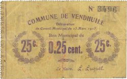 25 Centimes FRANCE régionalisme et divers VENDHUILE 1915 JP.02-2370 TB