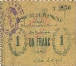 1 Franc FRANCE régionalisme et divers VENDHUILE 1915 JP.02-2371 TB+