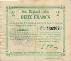 2 Francs FRANCE régionalisme et divers VERMAND 1916 JP.02-2385.BRU TTB