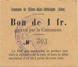 1 Franc FRANCE régionalisme et divers VILLERS SAINT CHRISTOPHE 1916 JP.02-2426 SPL
