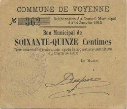 75 Centimes FRANCE régionalisme et divers VOYENNE 1915 JP.02-2449 SUP