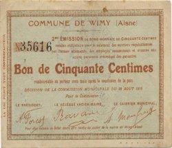 50 Centimes FRANCE régionalisme et divers WIMY 1915 JP.02-2465 TTB