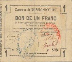 1 Franc FRANCE régionalisme et divers WISSIGNICOURT 1915 JP.02-2469 TTB