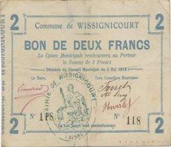 2 Francs FRANCE régionalisme et divers WISSIGNICOURT 1915 JP.02-2470 TTB