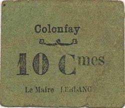 10 Centimes FRANCE régionalisme et divers COLONFAY 1916 JP.02-2545 TTB