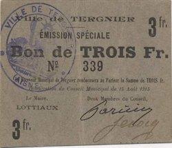 3 Francs FRANCE régionalisme et divers TERGNIER 1915 JP.02-2726 TTB