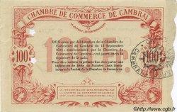 100 Francs FRANCE régionalisme et divers CAMBRAI 1914 JP.037.40 SPL