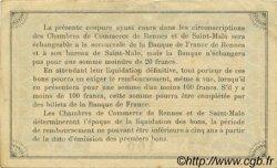 1 Franc FRANCE régionalisme et divers Rennes et Saint-Malo 1915 JP.105.03 SPL