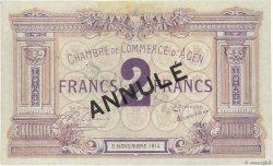2 Francs FRANCE régionalisme et divers Agen 1914 JP.002.06 SUP