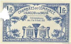 1 Franc FRANCE régionalisme et divers AJACCIO ET BASTIA 1915 JP.003.02 SUP