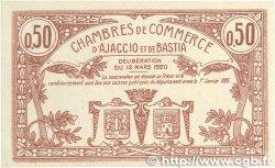50 Centimes FRANCE régionalisme et divers Ajaccio et Bastia 1920 JP.003.08 TTB+