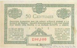 50 Centimes FRANCE régionalisme et divers Amiens 1922 JP.007.55 SUP+