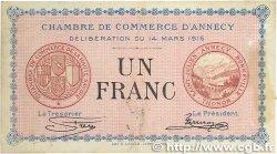 1 Franc FRANCE régionalisme et divers ANNECY 1916 JP.010.05 TTB
