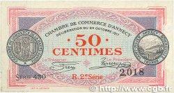 50 Centimes FRANCE régionalisme et divers ANNECY 1917 JP.010.09 SUP