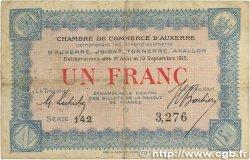 1 Franc FRANCE régionalisme et divers Auxerre 1915 JP.017.01 pr.TTB