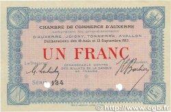 1 Franc FRANCE régionalisme et divers AUXERRE 1915 JP.017.03 pr.SPL