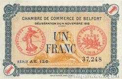 1 Franc FRANCE régionalisme et divers BELFORT 1918 JP.023.40 pr.SUP