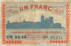1 Franc FRANCE régionalisme et divers BÉZIERS 1920 JP.027.28 TB