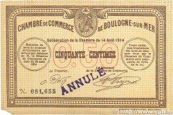 50 Centimes FRANCE régionalisme et divers BOULOGNE-SUR-MER 1914 JP.031.01var. TTB+