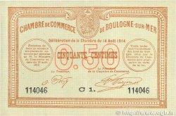 50 Centimes FRANCE régionalisme et divers Boulogne-Sur-Mer 1914 JP.031.11 SUP