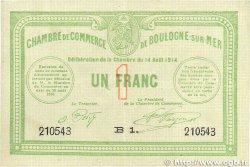 1 Franc FRANCE régionalisme et divers Boulogne-Sur-Mer 1914 JP.031.12 TTB+
