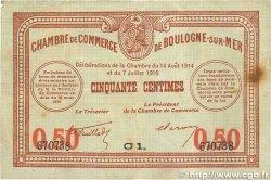 50 Centimes FRANCE régionalisme et divers Boulogne-Sur-Mer 1914 JP.031.17 TB