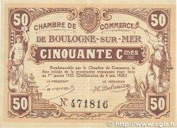 50 Centimes FRANCE régionalisme et divers Boulogne-Sur-Mer 1920 JP.031.29 TTB+