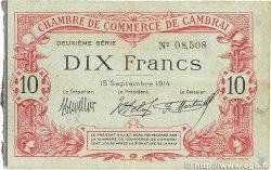 10 Francs FRANCE régionalisme et divers CAMBRAI 1914 JP.037.17 TB