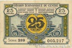25 Centimes FRANCE régionalisme et divers Région Économique Du Centre 1918 JP.040.01 TTB
