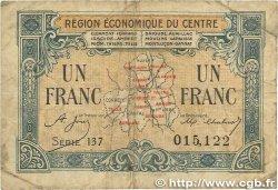 1 Franc FRANCE régionalisme et divers RÉGION ÉCONOMIQUE DU CENTRE 1918 JP.040.07 B